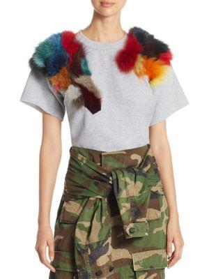 Harvey Faircloth Rainbow Fur Sweatshirt