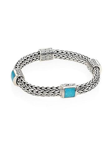 John Hardy Classic Chain Turquoise & Sterling Silver Four-station Bracelet