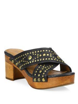 Frye Fiona Deco Leather Studded Slide Sandals