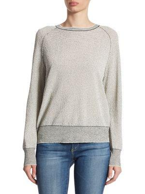Theory Amistair F Textured Striped Sweatshirt