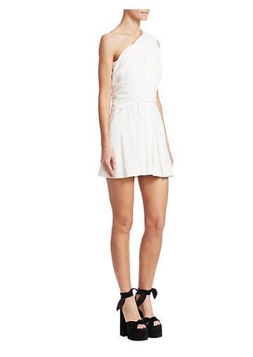 Saint Laurent Sable One-shoulder Goddess Dress