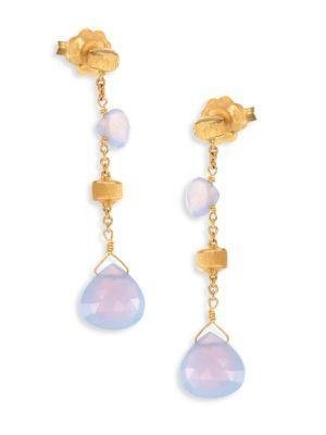 Marco Bicego Paradise Chalcedony & 18k Yellow Gold Drop Earrings
