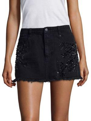Free People Shine Bright Shine Far Denim Mini Skirt