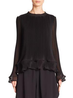 Chlo Pleated Chiffon Top
