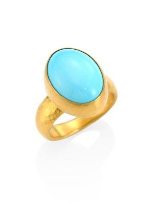 Gurhan Amulet Hue Turquoise & 24k Yellow Gold Oval Ring