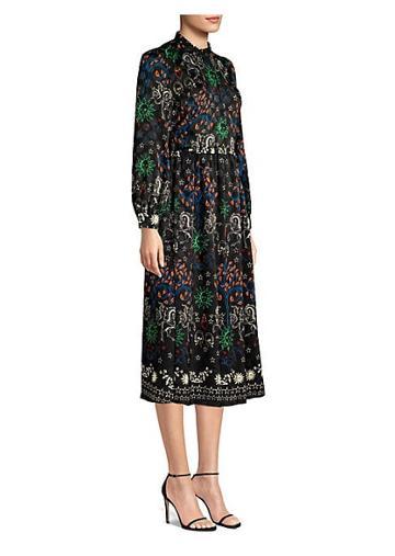 Sandro Grassette Folk-print Midi Dress
