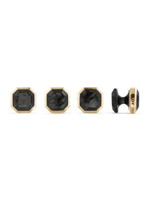 David Yurman Forged Carbon 18k Yellow Gold Cuff Links Set