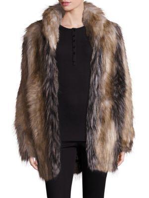 Fabulous Furs Pieced Faux Fur Shawl-collar Coat