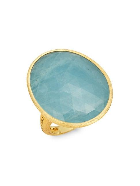 Marco Bicego Lunaria Aquamarine 18k Yellow Gold Solitaire Ring