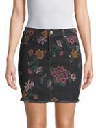 7 For All Mankind Floral Denim Mini Skirt