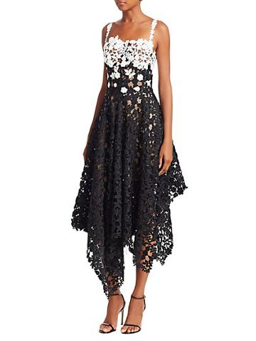 Oscar De La Renta Colorblock Lace Asymmetric Dress