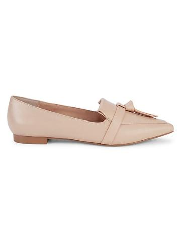 Saks Fifth Avenue Rose Leather Point-toe Flats