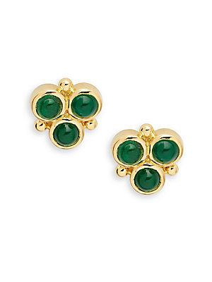 Temple St. Clair Emerald & 18k Yellow Gold Post Back Earrings