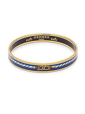 Herm S Vintage Blue/gold Rope Enamel Narrow Bracelet