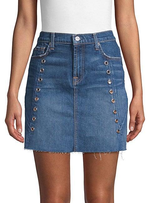 7 For All Mankind Embellished Mini Skirt