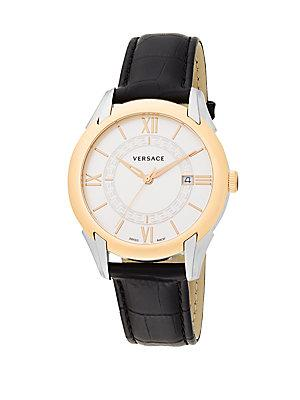 Versace Apollo Stainless Steel & Reptile-embossed Leather Watch