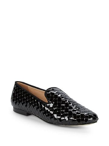 Ava & Aiden Woven Patent Leather Smoking Slippers