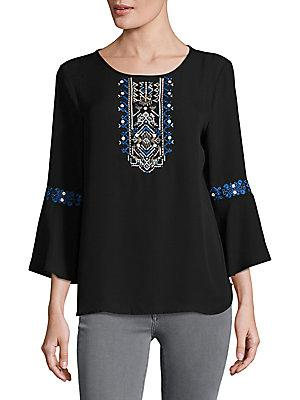 Ivanka Trump Embroidered Bell Sleeve Blouse