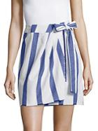 Lavi Striped Wrap Cotton Skirt