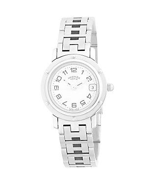 Herm S Vintage Silver/white Clipper Pm Watch