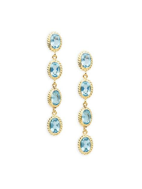 Saks Fifth Avenue 14k Gold & Blue Topaz Oval Drop Earrings
