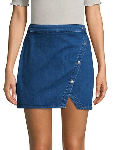 Free People Notched Denim Mini Skirt