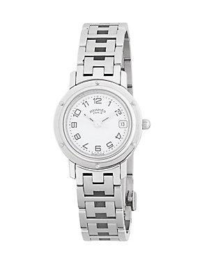 Herm S Vintage White Stainless Steel Clipper Watch
