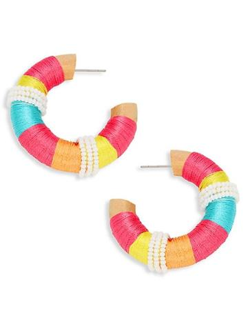 Ava & Aiden Fabric-wrapped Wooden Hoop Earrings
