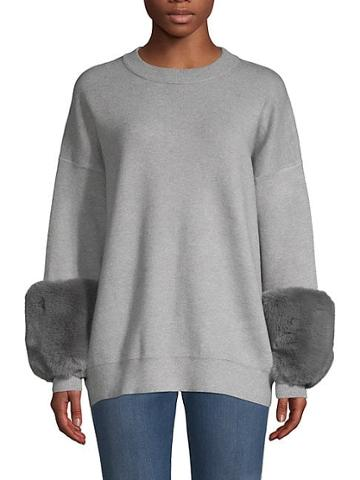 Saks Fifth Avenue Faux Fur Cuff Sweater