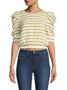Moon River Puff-sleeve Cropped Top