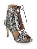 Loeffler Randall Anaconda Leather Lace-up Sandals