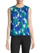 Calvin Klein Pleated Floral-print Top