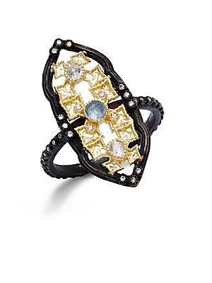 Armenta Diamond & Gemstone Quartz Doublet Cutout Ring