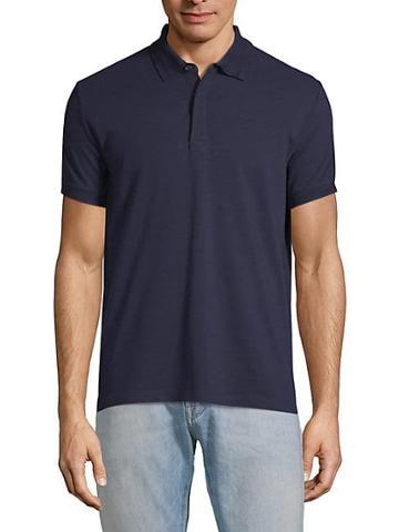 Pure Navy Pique Stripe Cotton Polo