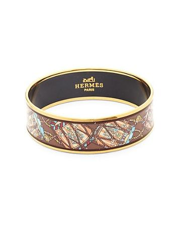 Herm S Vintage Drum Enamel Bangle Bracelet