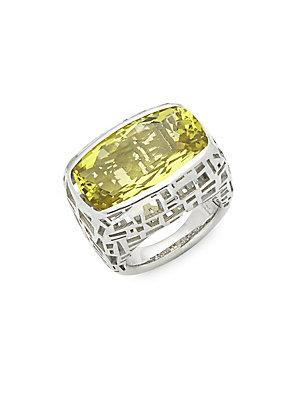 Roberto Coin Skyline Lemon Quartz & Silver Ring