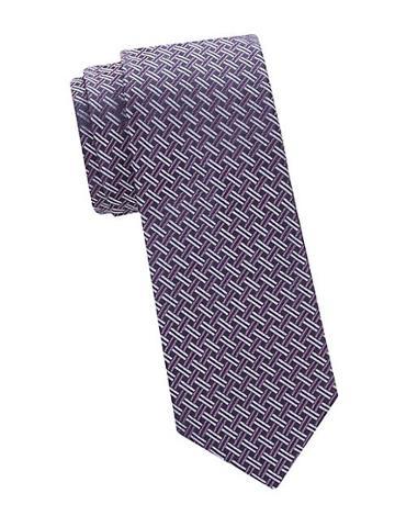 Saks Fifth Avenue Made In Italy Basket Weave Silk Tie