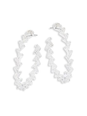 Ava & Aiden Silvertone & Cubic Zirconia Chevron Hoop Earrings