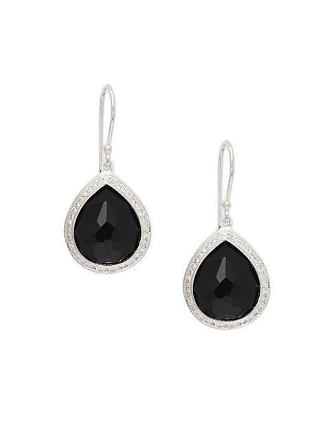 Ippolita Diamond & Onyx Sterling Silver Teardrop Earrings
