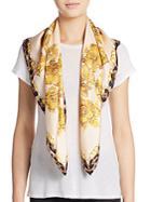Roberto Cavalli Silk Floral & Leopard Print Scarf
