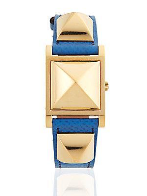 Herm S Vintage Blue/gold Courchevel Medor Watch