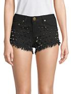 Reverse Studded Denim Shorts