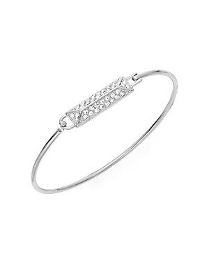 Rebecca Minkoff Jewel Box Pavé Rectangle Bangle Bracelet/silvertone