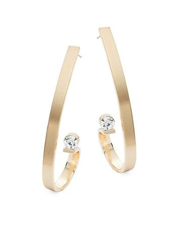 Ava & Aiden Goldtone & Cubic Zirconia Curled Bar Earrings