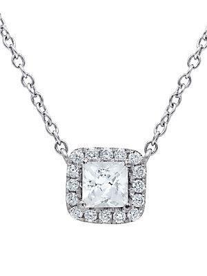 Diana M Jewels Diamond And 14k White Gold Pendant Necklace