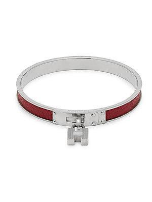 Herm S Vintage Red/silver Kelly Bangle Bracelet