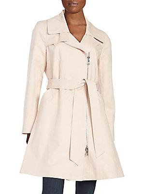 Karl Lagerfeld Asymmetrical Zip Trench Coat