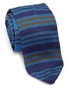 Hook + Albert Multicolor Stripe Knit Silk Tie
