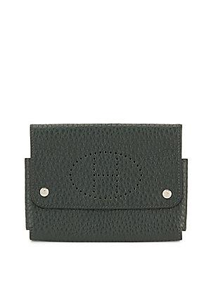 Herm S Vintage Green Clemence Card Case