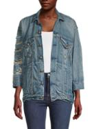 R13 Oversized Destroyed Denim Jacket